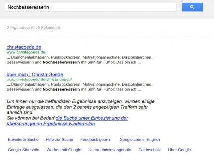 Google-Ergebnis Nochbesseresserin - nur 2 Treffer und die bei mir auf der Website!