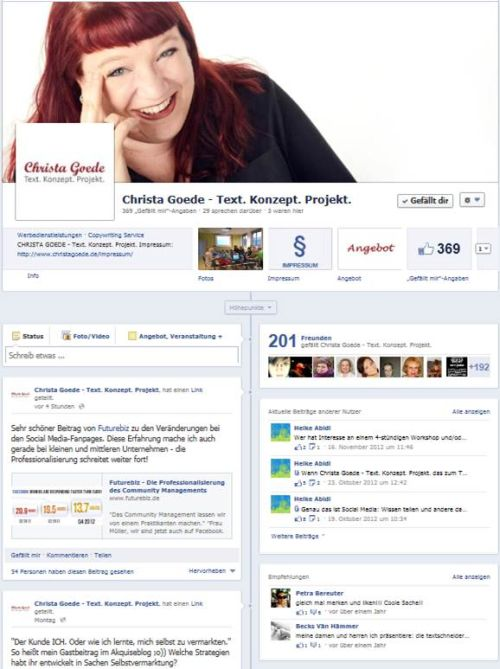 Screenshot der Facebook-Fanpage