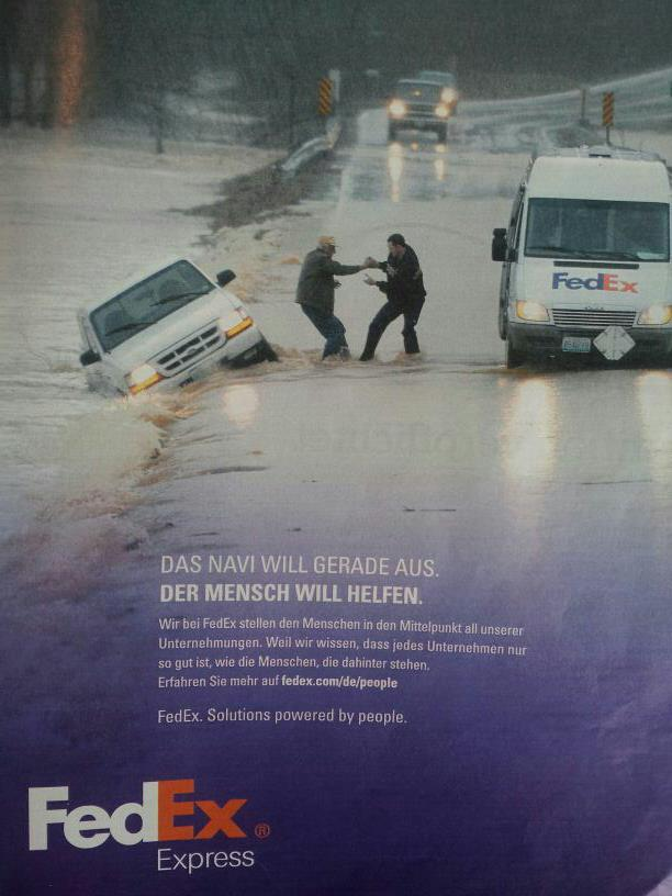 Rechtschreibfehler in der Fedex-Werbung
