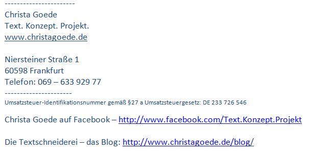 Signatur Christa Goede