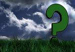 Fragezeichen auf grüner Wiese