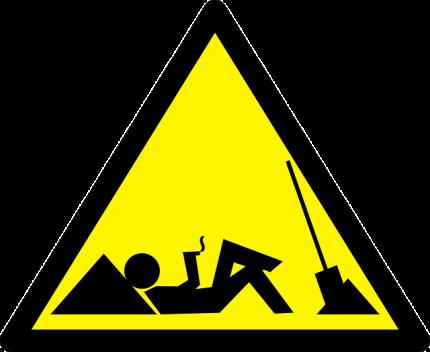 Schild, auf dem sich ein Arbeiter ausruht