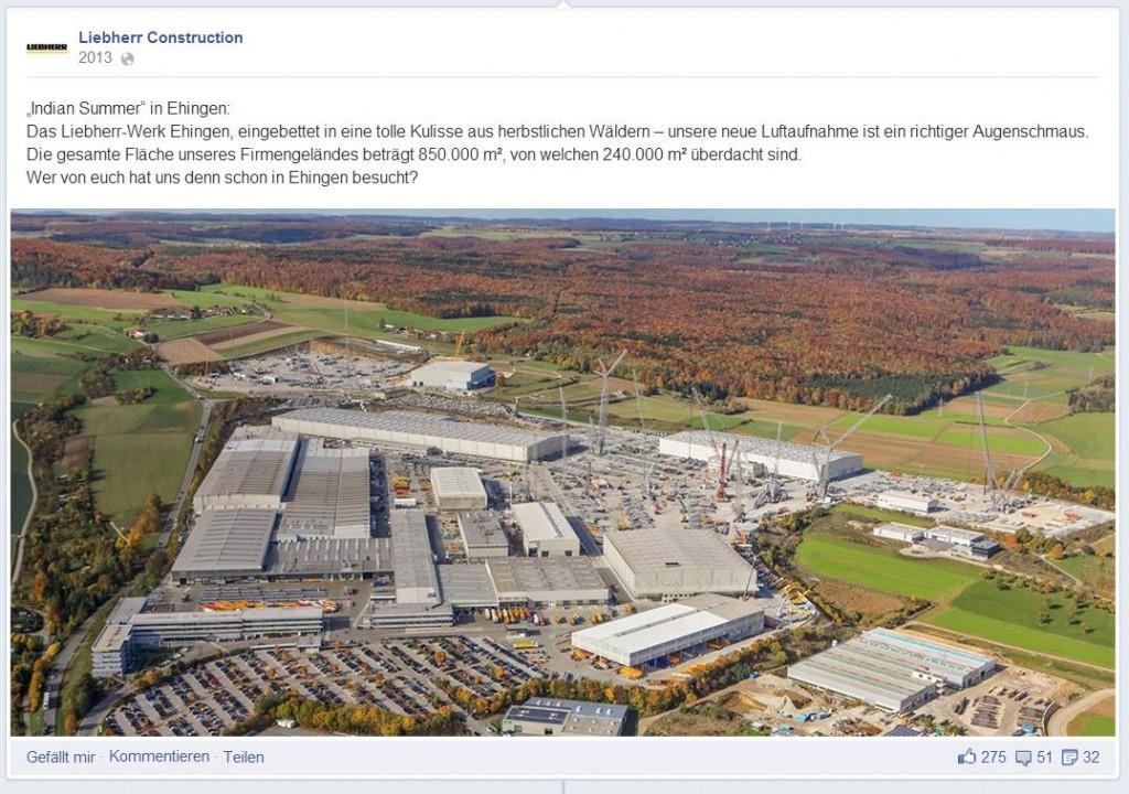 Das Liebherr-Firmengelände auf Facebook