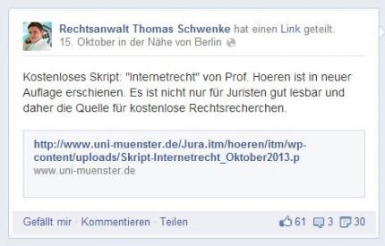 Posting von RA Schwenke