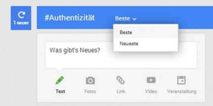 Suchfeld bei Google+