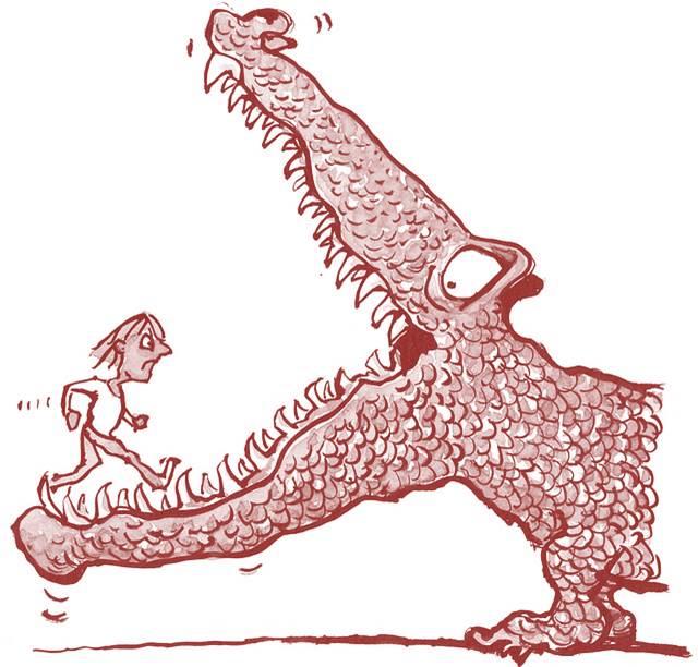 Mensch läuft Krokodil ins Maul