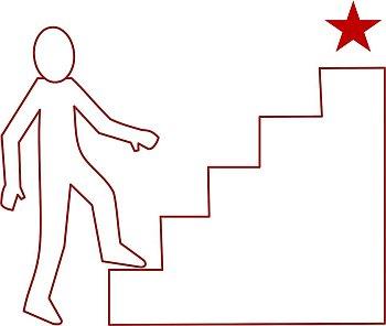 Treppenstufen mit Ziel