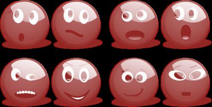 Verschiedene Emotionen bei Emoticons