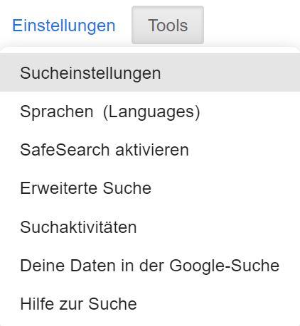 Einstellungen von Google