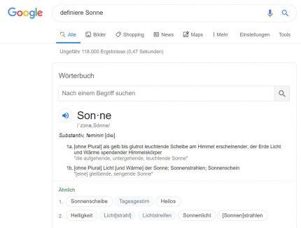 Google als Nachschlagewerk