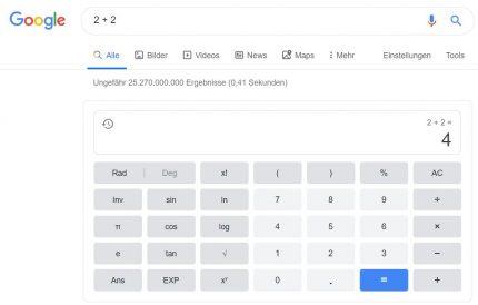 Google als Taschenrechner