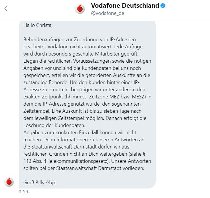 Vodafone Twitter 4.8.2017