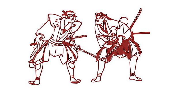 Zwei Samurais belauern sich