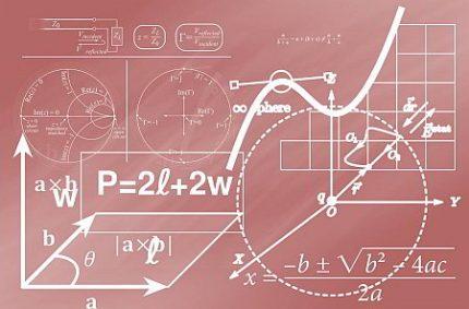 Komplizierte Rechnung auf einer Tafel