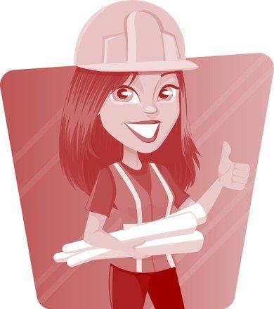 Eine Ingenieurin mit Plänen